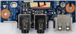 Плата с разъемами AUDIO, MIC, USB для ноутбуков ASUS K53U X53U K53Z A53Z A53U, оригинальная, ASUS, Б/У, LS7322P