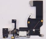 Шлейф межплатный для сотового телефона Apple iPhone 5 в сборе с системным разъемом, микрофоном и разъемом гарнитуры, аналог, новый, белый